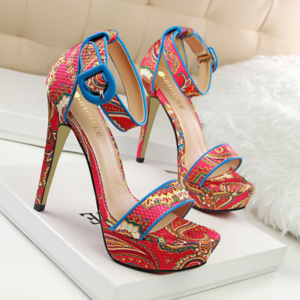 Ethnic Ankle Wrap Platform Stiletto Heel <strong>Sandals</strong>