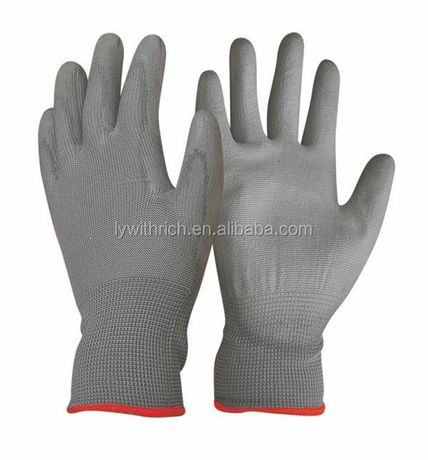 Cheap 18g cut resistant glove grey pu coating glove