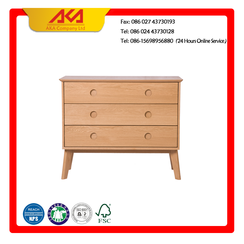 Indoor furniture oiled solid wood chest of drawers design