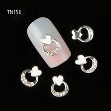 10pcs White Metal Heart Rhinestones 3d Nail Art Decorations Alloy Nail Stcikers Charms Jewelry for Nail