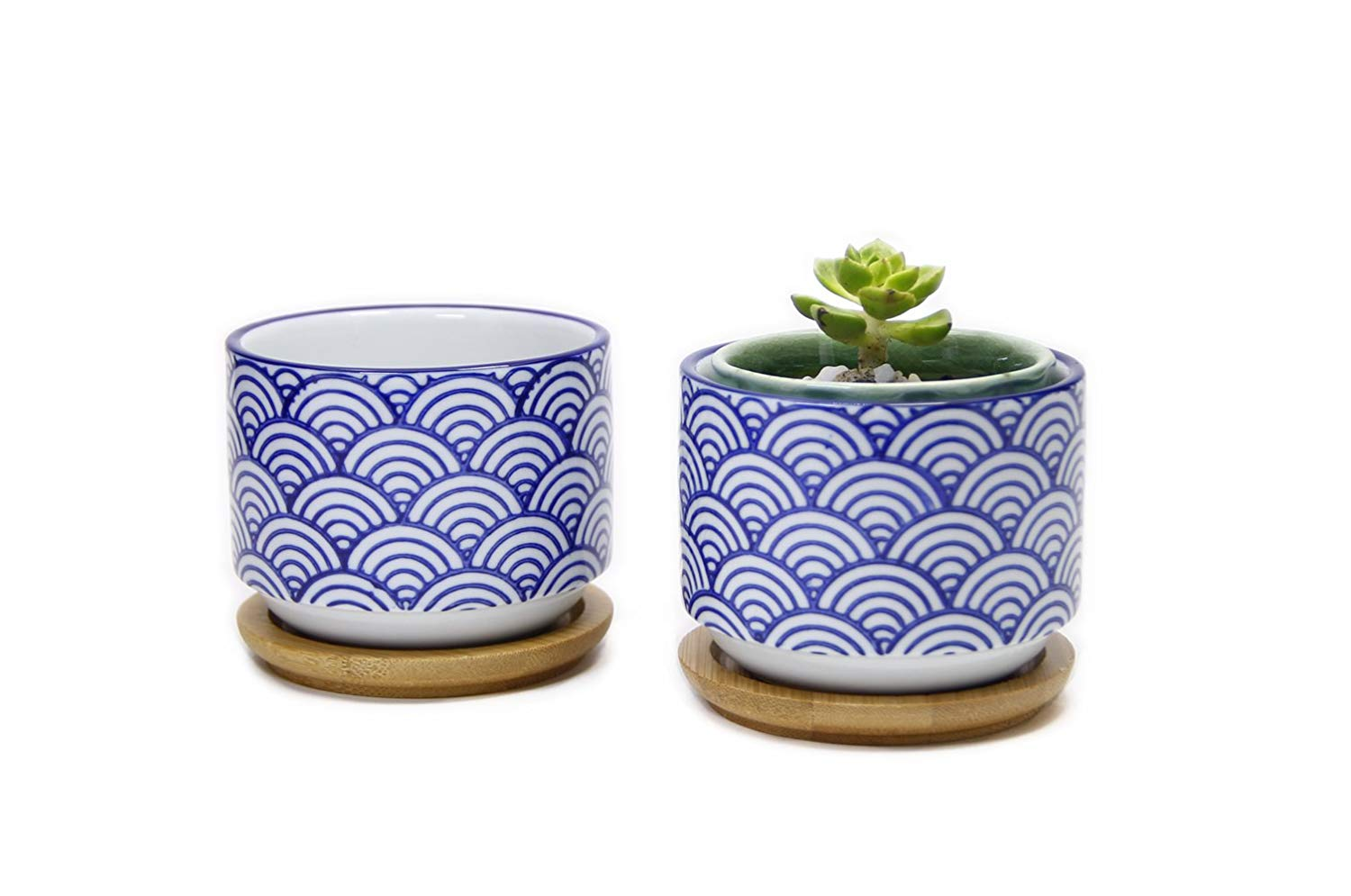 Goldblue Ceramic Small Succulent Pots 3.1Inch Japanese Style Succulent Planter Pots with Bamboo Drip Tray Pack of 2/Wave