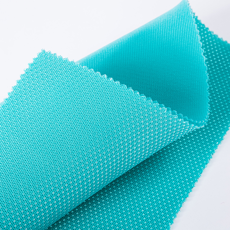 New custom fancy 3d air sandwich polyester cyan mesh fabric for running shoes