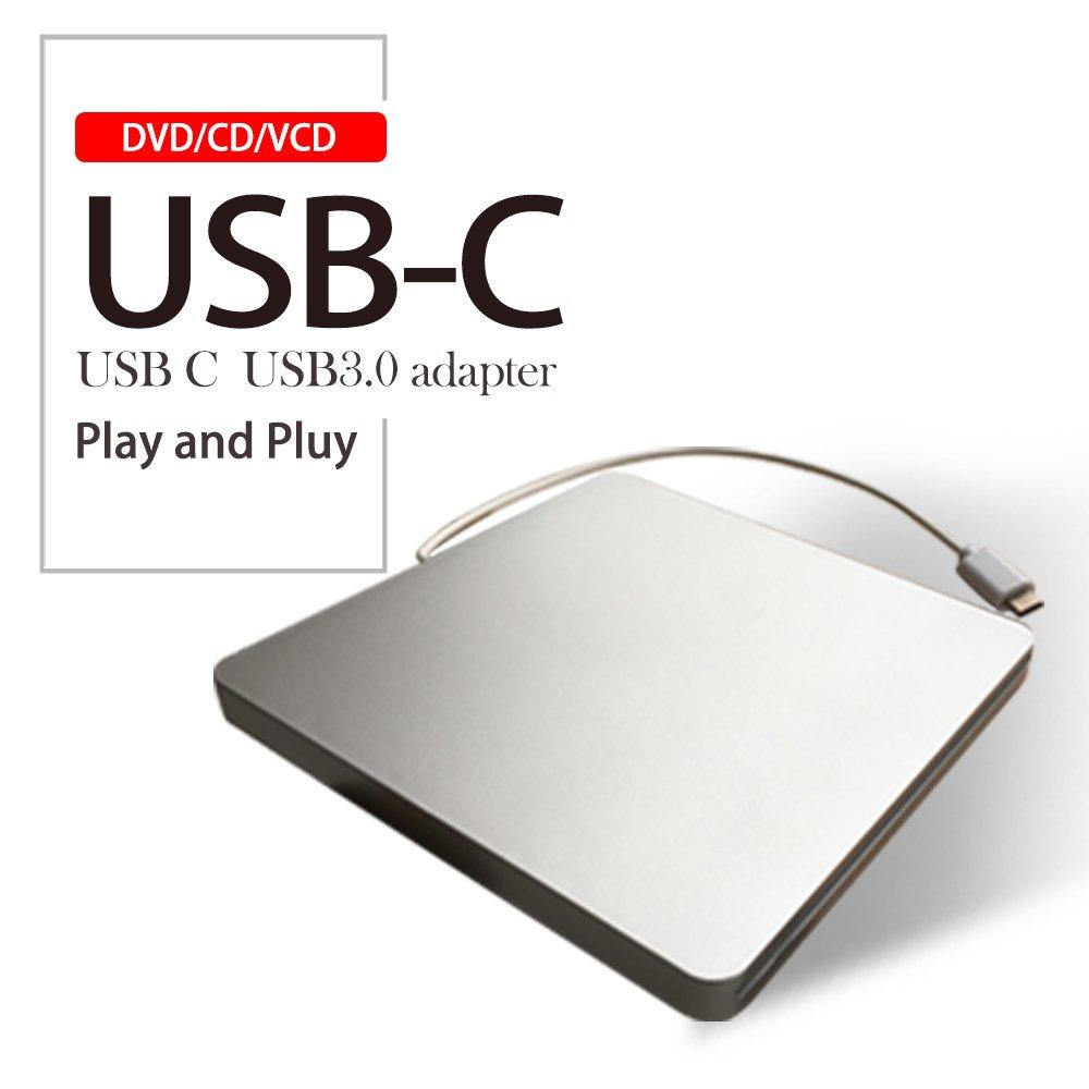 USB-C Super drive External DVD/CD Rewriter Drive USB External DVD/CD Drive Burner for latest Mac Pro/MacBook Pro/ASUS U306UA/ASUS/DELL Latitude,Support Windows 98/XP/Win 7/Win 8/Win10/Mac OS (Silver)