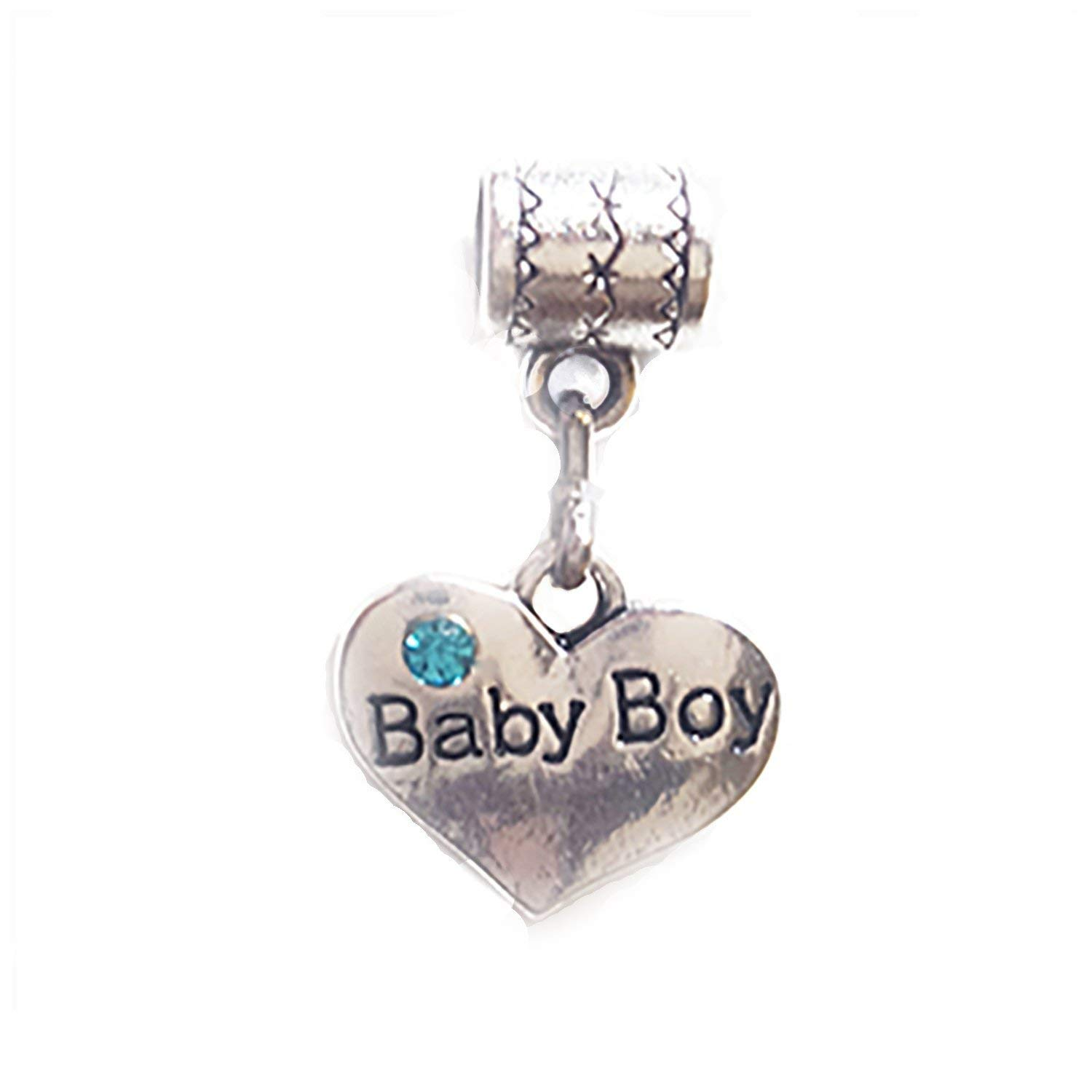 """Baby Boy"" Tibetan Silver 2-sided charm by Mossy Cabin for large hole style snake chain charm bracelet with blue crystal. Great addition to a key chain, neck chain, pendant or necklace as well."