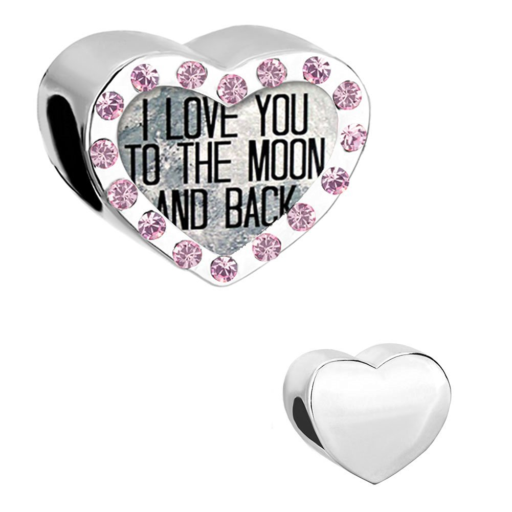 78dea6f2f I Love You to the Moon and Back Heart Love Light Purple Crystal Birthstone  Charm Beads