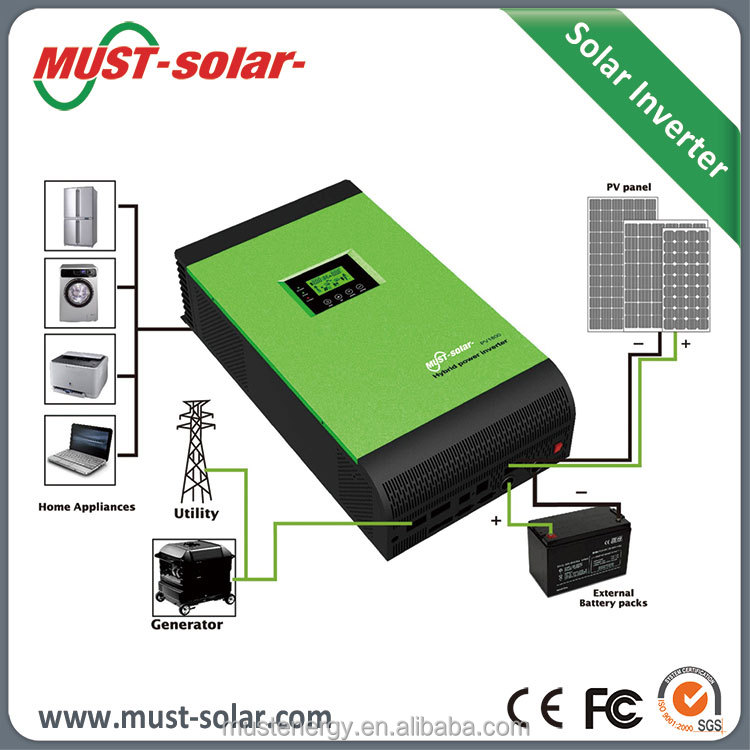 Off Grid Pure Sine Wave DC to AC Hybrid Solar MPPT 4000 watt Intelligent Power Inverter