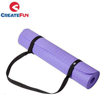 CreateFun Eco-friendly TPE exercise light weight yoga mat with carrying strap