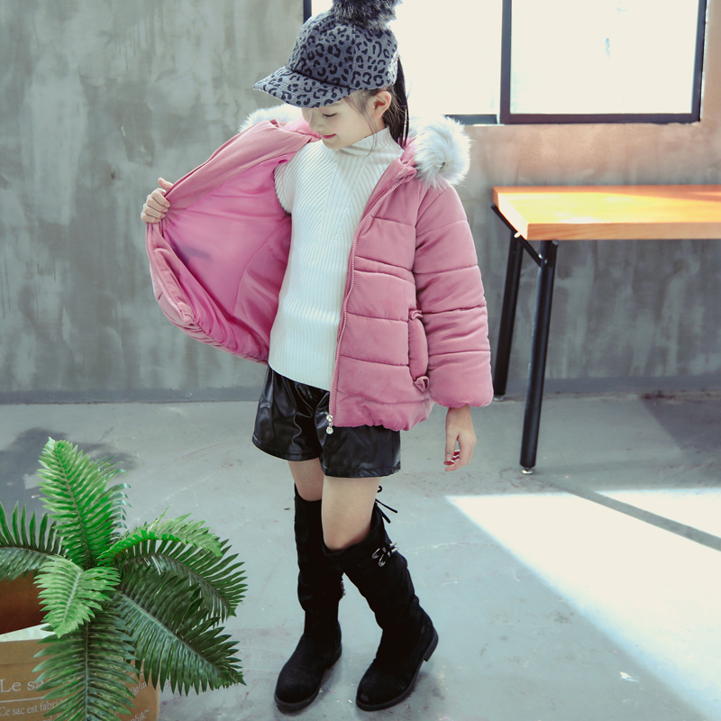 wholesale child winter hoodie jacket cheap price girls winter coats kid clothing