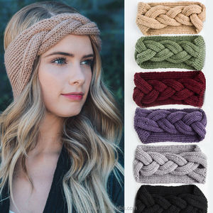 Crochet Thread Cross Over Knit Headband Ear Warmer headwear