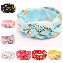 Free shipping 10pcs lot Gold Polka Dot Knot Headband Baby Turban Braid Headband
