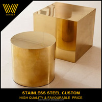 Custom stainless steel round and square golden metal chair furniture