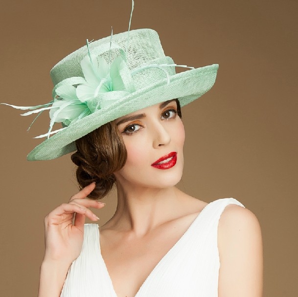 0aa3e9d80a4cb high quality wedding dress hats with flower women sinamay fancy church hats  for sale
