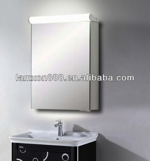 Top light bathroom mirror cabinet for hotel vanity,backlit shaving cabinet with mirror