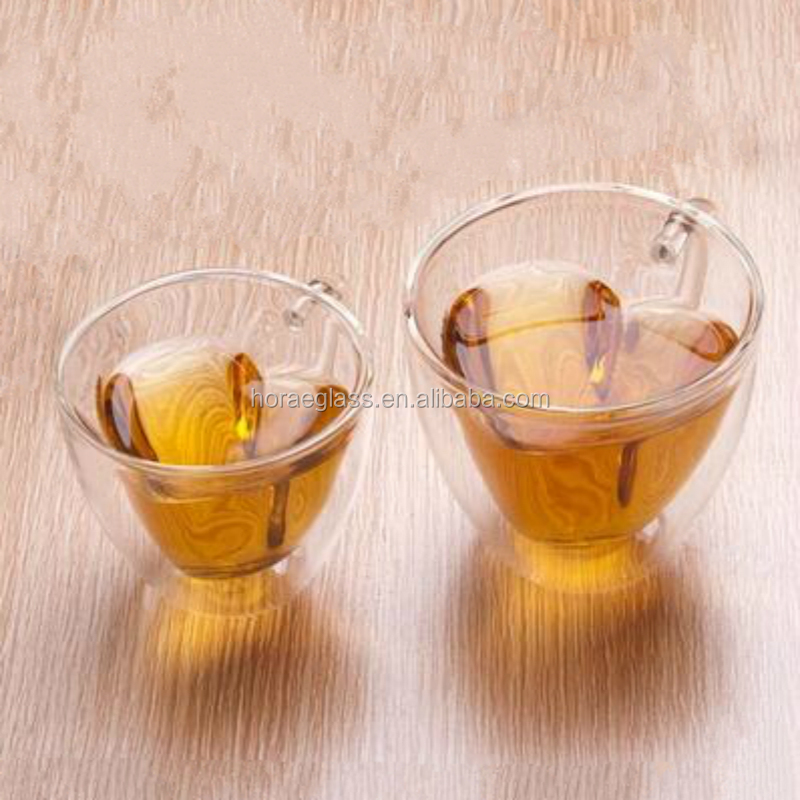 2017 Heart shape double wall glass cup water glass mug milk mug juice cup with handle