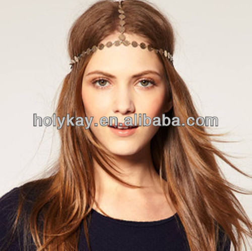 Hot new products fashion style head jewelry wholesalers, charming golden flat beads chain hair jewelry