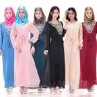 Latest Design Embroidery Abaya Kaftan Women Muslim Dress With Belt
