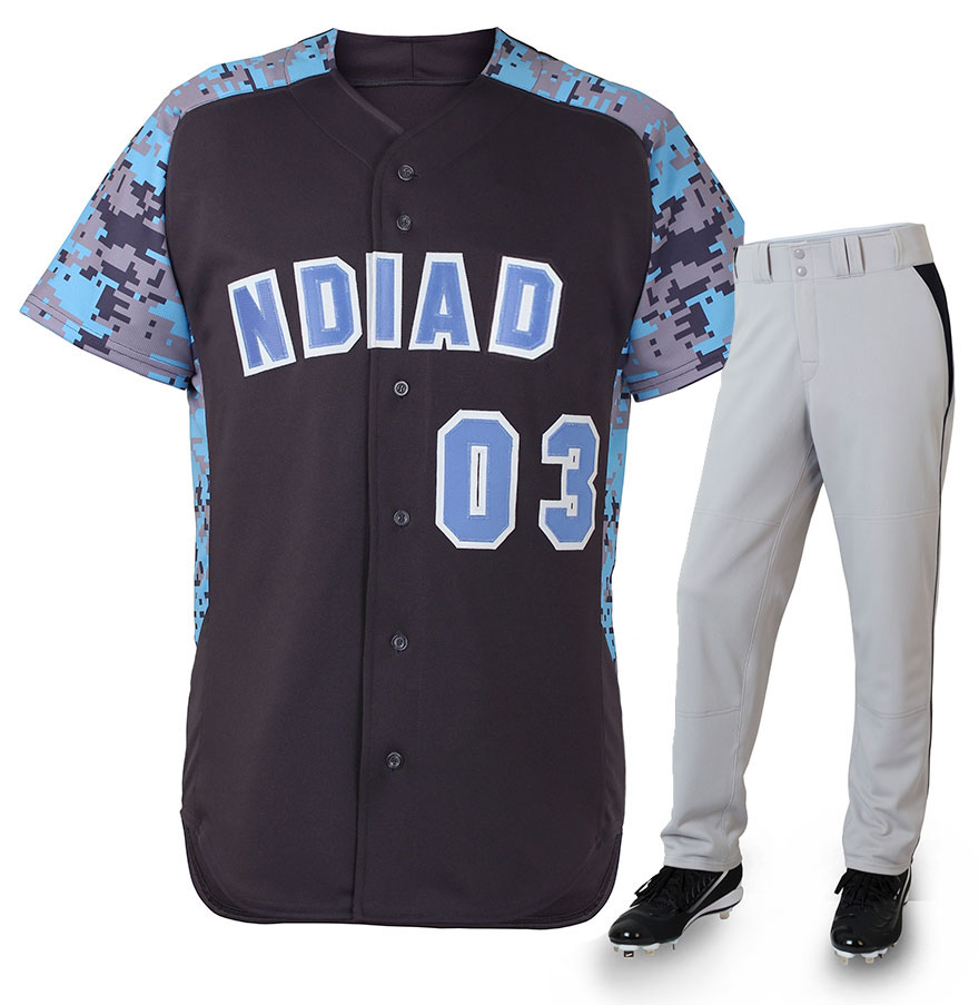 custom design youth team cheap camouflage pattern sublimation baseball jersey uniforms sets