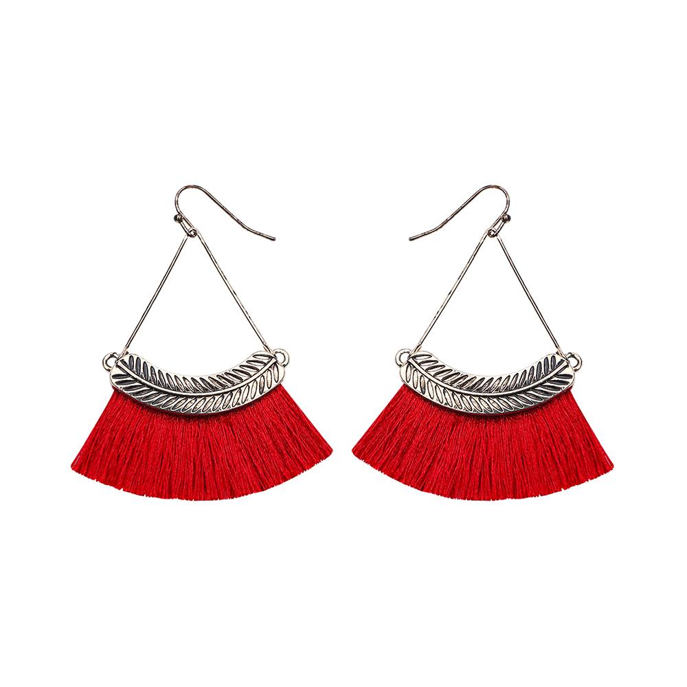 Factory new design vintage leaf charms silk thread tassel earrings 2019 women dangle earrings