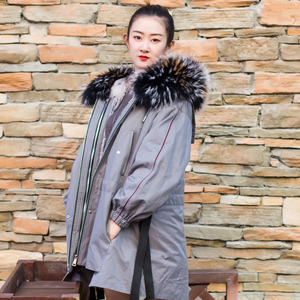 made in china Fashion rabbit fur lining removable with raccoon fur hooded women long parka