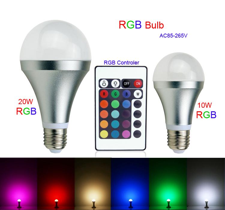 2015 neueste rgb led birne e27 5w 10w 20w ac 85 265v rgb led lampe mit ir fernbedienung mehrere. Black Bedroom Furniture Sets. Home Design Ideas