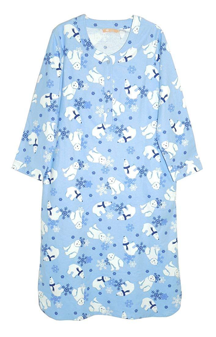 La Cera Women s Plus-Size Flannel Nightshirt 0cea6a86d