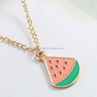 Hot Sale Enamel Watermelon Fruit Charm Zinc Alloy Choker Pendant For Necklaces Bracelets DIY