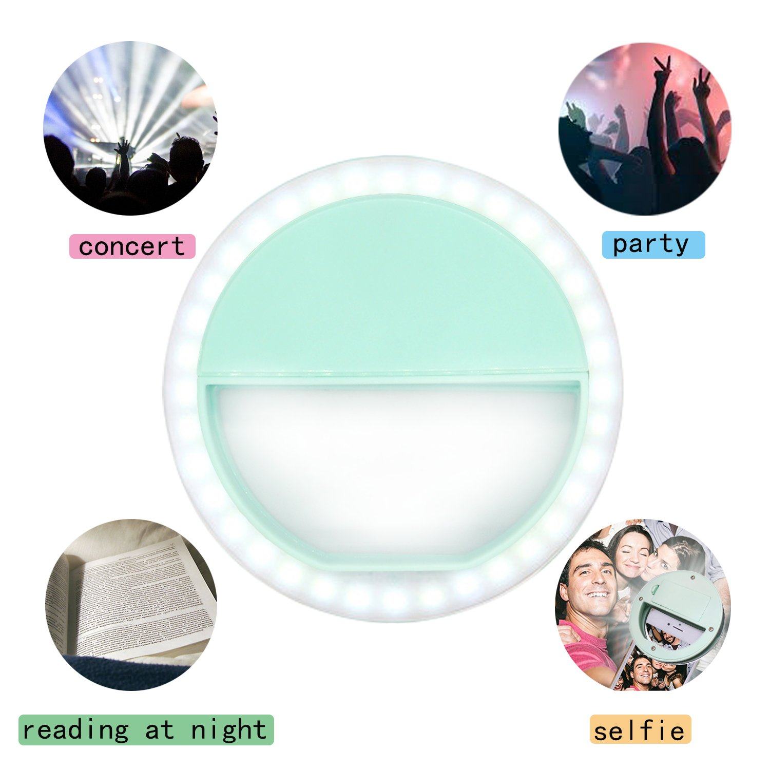 Clip on Selfie Ring Light for Smart Phone Camera Round Shape-By MEET Y(Mint Green)