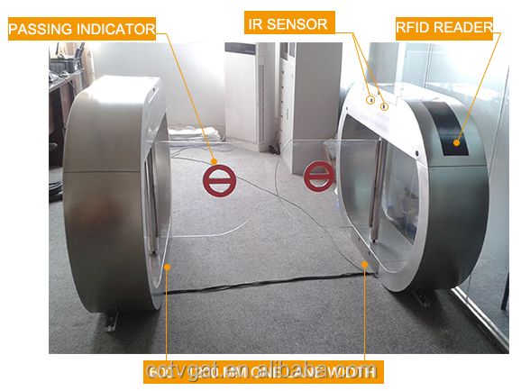 Customized 850mm Width Swing Turnstile Gate With rfid Reader For One Lane