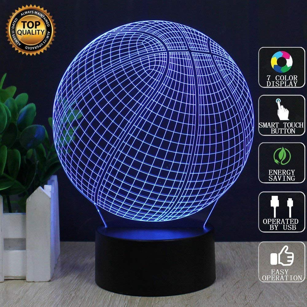 3D Basketball Illusion Lamp, LED Night Light with 7 Color Changes and USB Power Cable and Wall Adapter