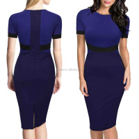 Sexy Evening Dress Wholesale Women's Official Scoop Neck Optical Illusion Business Pencil Sexy Midi Dress