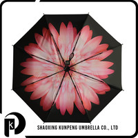 Outside black gel covered pongee 3 folds printed umbrella standard umbrella size
