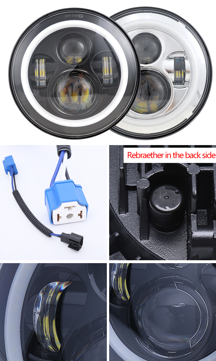 7 Inch Halo Ring led Headlight for Jeep Wrangler Offroad/ Motorcycle Harley 7 inch round led headlight 12v 24v