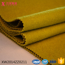 XW2014ZZ0211 hole sale yellow wool polyester brushed knitted heavy fabric for coating