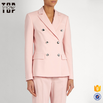 Custom Made Blazer Women Pink Double Breasted Ladies Blazer