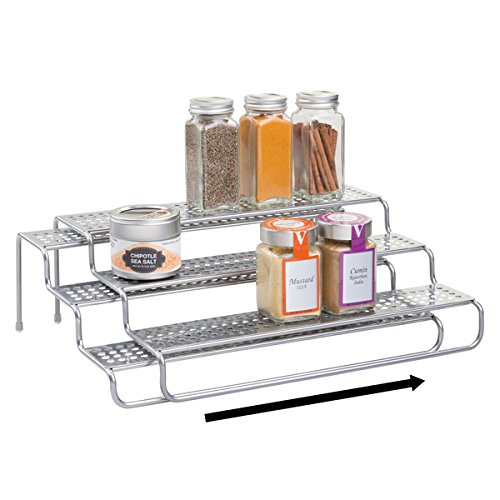 mDesign Expandable Kitchen Spice Rack for Kitchen Pantry, Cabinet, Counter Tops - 3-Tier, Silver