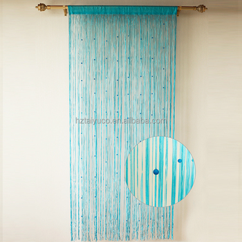 Blue Long Stripe String Ball Fringe Curtains