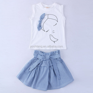 Hot sale stylish baby girls spring outfit top with skirts children outfit