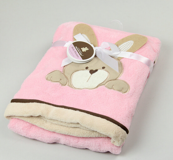 Blue Embossed Cartoon animal baby Kids polyester coral fleece Blankets