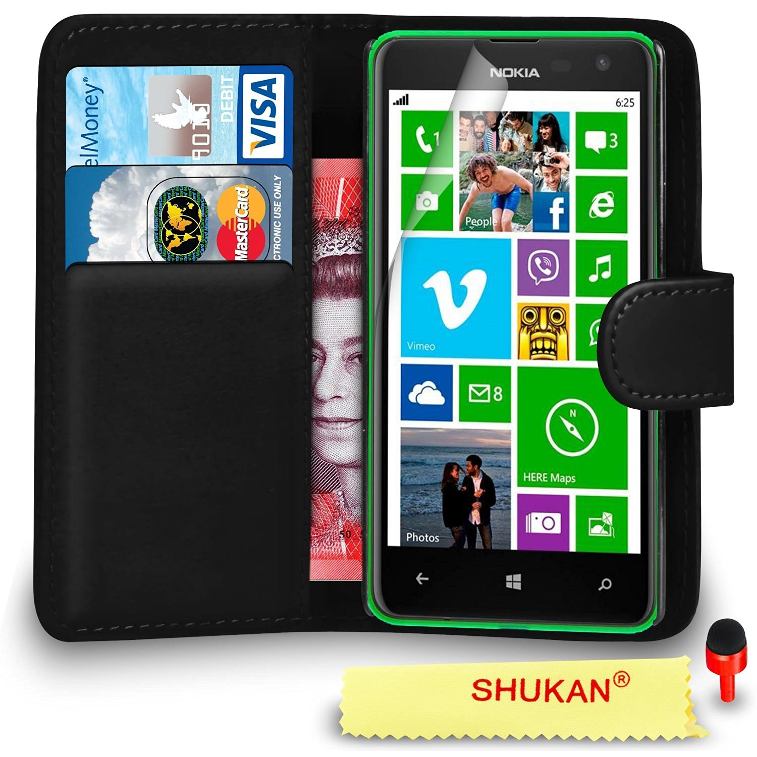 Nokia Lumia 625 Premium Leather Black Wallet Flip Case Cover PouchRED DS+ Screen Protector & Polishing Cloth SVL0 BY SHUKAN®, (WALLET BLACK)