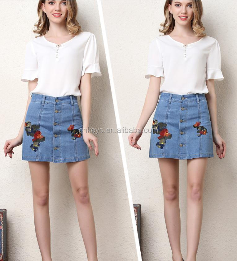 K1903A Newest Vintage Plus Size Embroidery Women Skirts Summer Formal Denim Skirts For Ladies 2017