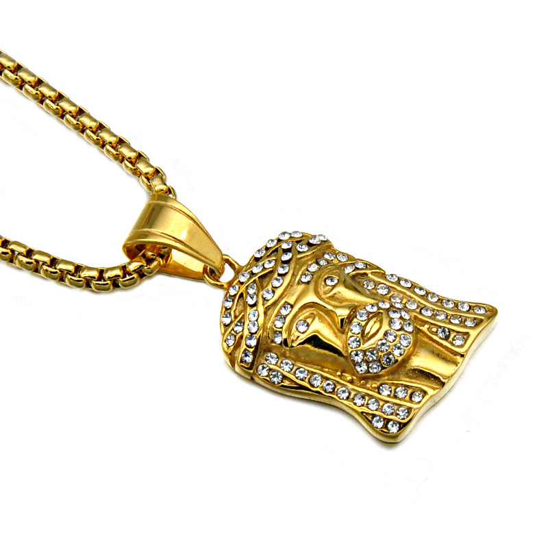 Gold Plated Stainless Steel Iced Out Religious Jesus Pendant Necklace Unsiex <strong>Jewelry</strong>