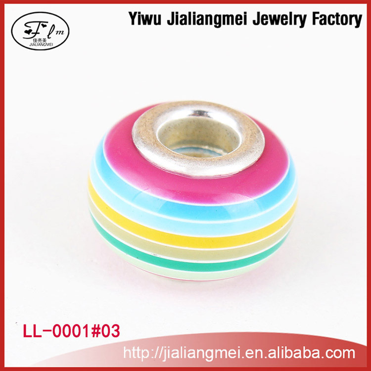 2015 new styled silver core european style large hole 5mm lampwork glass beads manufacturers