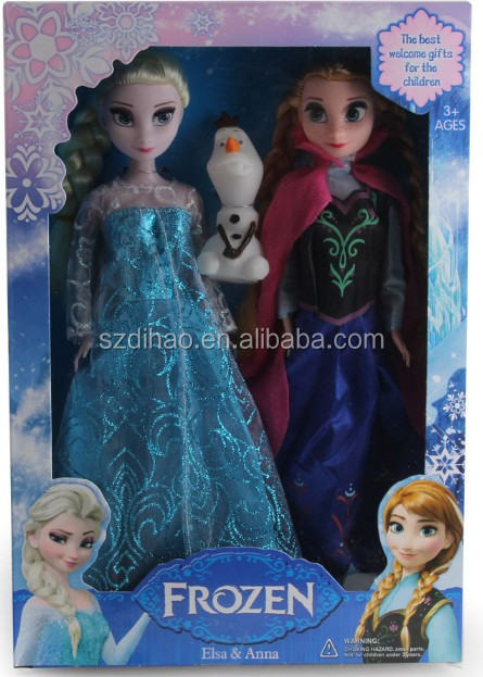 DIHAO Wholesale Frozen <strong>Doll</strong> 2016 New Olaf Anna Elsa Princesses <strong>Doll</strong> Action Figures <strong>Dolls</strong> 3Pcs Set Fashion Cartoon