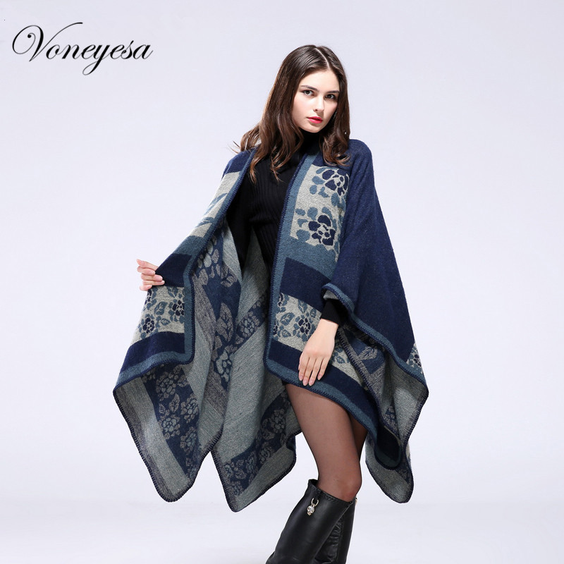 New Winter Cashmere Scarf Women Floral print Poncho Large Size Blanket Fashion Cape Shawls Mother's Day Gift RO16022