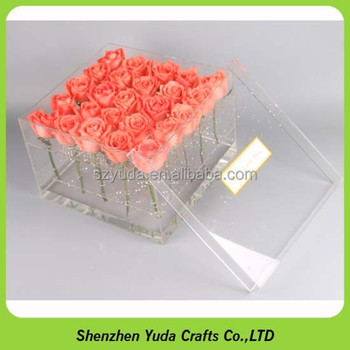High Glass Acrylic Material Flower Arrangement Box Rose Display Case