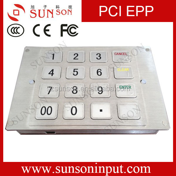 16 keys PCI 3.1 Standard Metal Pinpad Made in Shenzhen