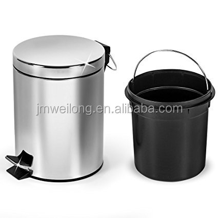Bathroom Kitchen Bin 3 Litre Stainless Steel Waste Rubbish Cosmetic Pedal Inner Bucket In White