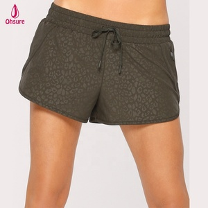 100% nylon woven fabric womens gym shorts run shorts