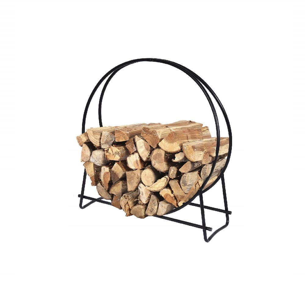 Daisy Days 40-Inch Tubular Steel Log Hoop Round Display Firewood Storage Rack Holder