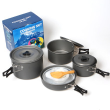 13 in 1 Outdoor Vouwen Kookgerei Cookware Pot Pan Set Camping Pot 5-6 ppl hard-geanodiseerd aluminium koken potten